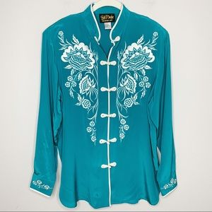 BOB MACKIE Floral Embroidered 100% Silk Blouse